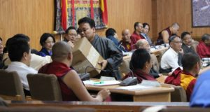 Members of the 16th Tibetan Parliament-in-Exile casting ballot for the new Justice Commissioner.