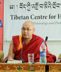Speaker Khenpo Sonam Tenphel addressing the media at the book launch on 28 November 2016.