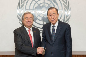 Former United Nations secretary general Ban Ki-moon shakes hands with the New UN secretary general Antonio Guterres.