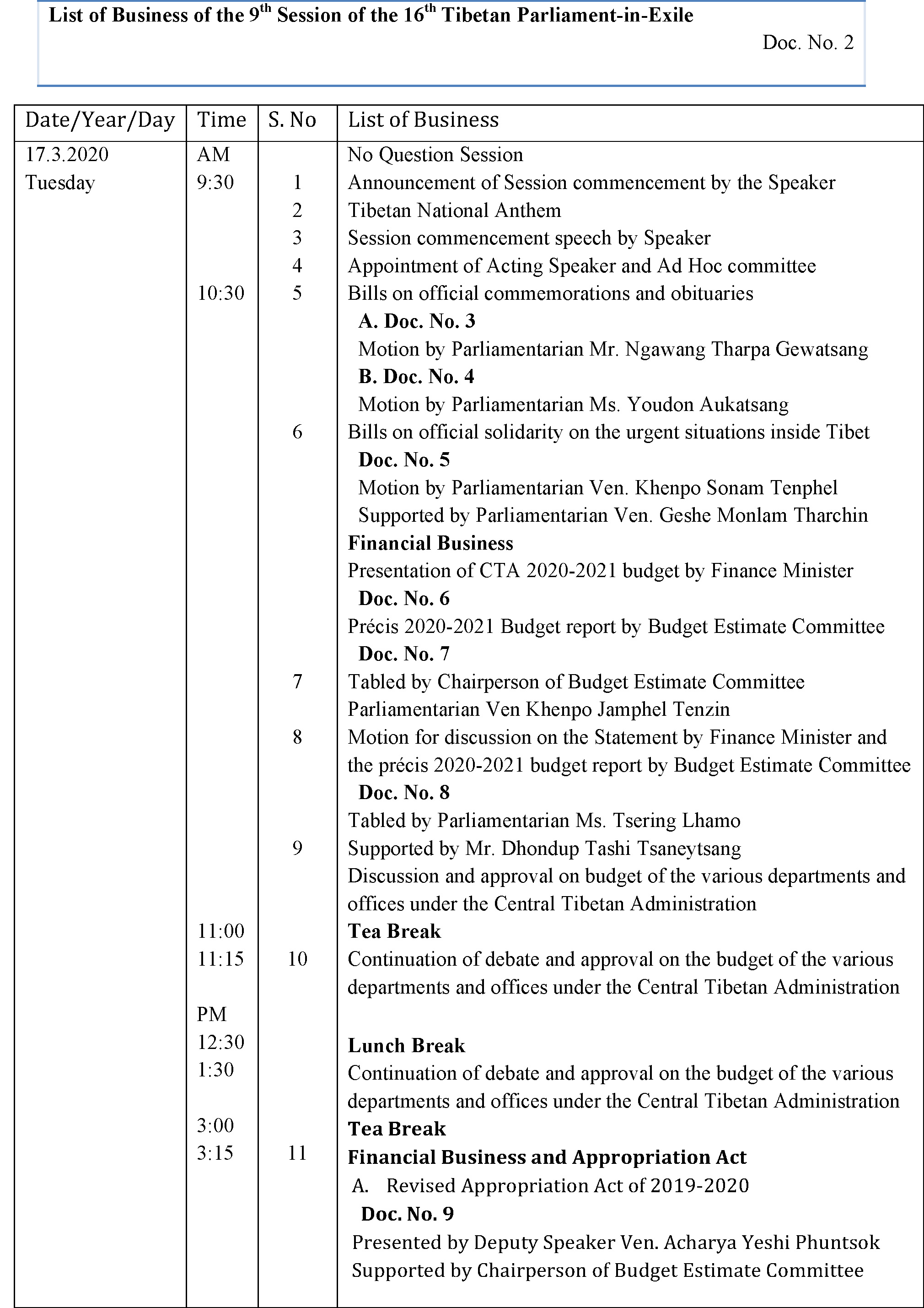 List of business of the 9th Session of the 16th Tibetan Parliament-in-Exile